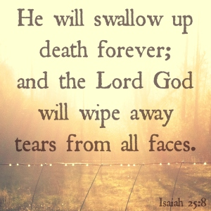 He will swallow up death forever and wipe tears Isaiah 25.8